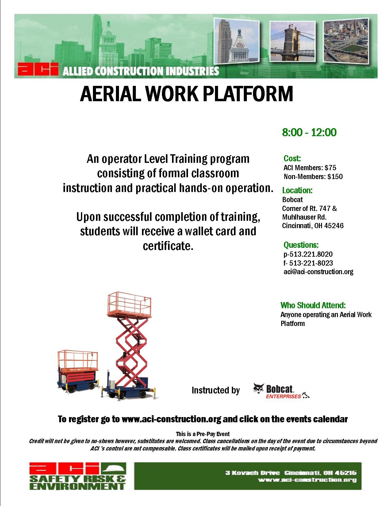aerial work platform december 5 2013 no aci registrants. Black Bedroom Furniture Sets. Home Design Ideas
