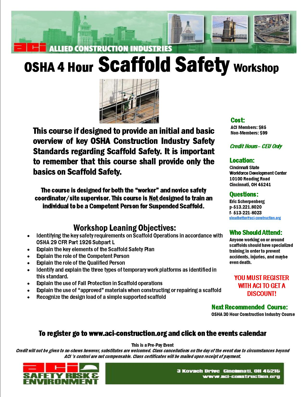 Osha Scaffold Safety 4 Hours January 12 2015 No Aci Registrants